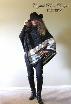 Crochet Poncho PATTERN / Womens Chunky by CrystalBearDesigns