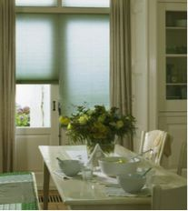 Pale blue Duette blinds for the kitchen. Contemporary blue colour inspiration for the kitchen. Honeycomb Blinds, Best Blinds, British Home, Palette, Design Consultant, Color Inspiration, Kitchen Inspiration, Stores, Save Energy