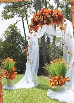 DIY Fall Wedding Arch - Easy to assemble. Use these arches for fall weddings, bridal showers, welcoming events and more celebrations. Decorate to the theme of your special occasion with flowers, organza and tulle products, and much more! Assemble two arches to make it a four legged encasing arch! Check it out.