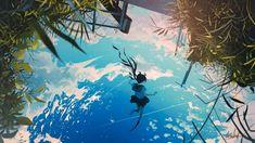 Sky Anime, Color Studies, Anime Scenery, Anime Artwork, Beautiful Artwork, Manga Art, Cool Photos, Waiting, Landscapes