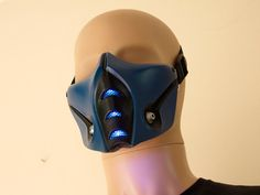 Mortal Kombat Sub-Zero Mask v.2 (MK9) with front LED lights Airsoft Cosplay DJ Rave mask - Made to order -