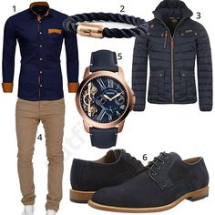 Eleganter Style mit Uhr und Armband in Roségold - - Herrenoutfit mit dunkelblauem Reslad Freizeit-Hemd, Roségold-Blauer Fossil Herrenarmbanduhr und Fi - Stylish Mens Outfits, Casual Winter Outfits, Men Casual, Tomboy Fashion, Love Fashion, Mens Fashion, Fashion Trends, Mode Man, Herren Outfit