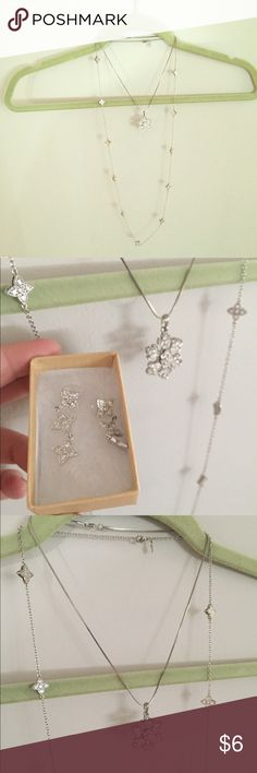 Snowflake necklaces and earrings bundle Two necklaces and earrings set Jewelry Necklaces