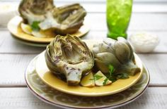 Grilled artichokes with lemon mayo