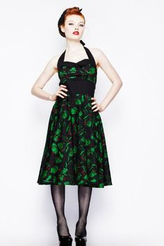 Hell Bunny Black and Green Freddy Frankenstein Gothic Party Dress $74.95