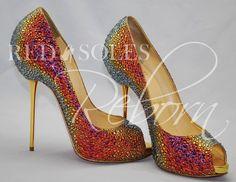 rainbow glitter peep-toes