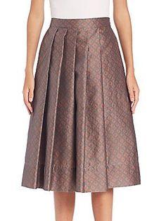PAUW Pleated Geo-Print Skirt - Grey-