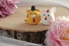 Tiger and Chicken wedding cake topper---Chiness Zodiac wedding cake topper #cakedecor #cute