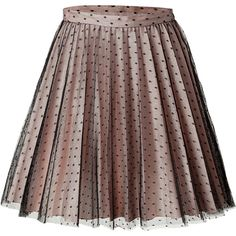 RED VALENTINO Dotted Tulle Pleated Skirt (€195) ❤ liked on Polyvore featuring skirts, bottoms, saias, юбки, layered tulle skirt, brown skirt, polka dot pleated skirt, brown tulle skirt and knee length pleated skirt