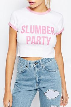 White Color Block Letter Print Short Sleeve Cropped Tee