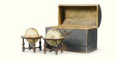 A VERY RARE PAIR OF 3-INCH MINIATURE TABLE GLOBES, JAMES FERGUSON, LONDON CIRCA 1755