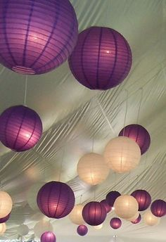 Love the purple and white wedding paper lanterns (Whenever I see purple wedding decor it always makes me think of you, Plucker Plucker :: Teal White Garden :: Teal White Garden :: Teal White Garden Tonymon! Purple Wedding Decorations, Wedding Ceremony Decorations, Wedding Colors, Wedding Reception, Wedding Ideas, Wedding Lanterns, Reception Ideas, Wedding Inspiration, Tangled Wedding