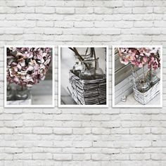bathroom decor set of 6 photographs, bathroom art set, white grey, Hause ideen