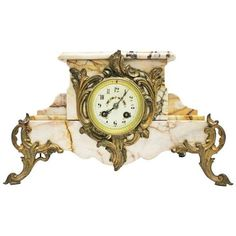 Antique French Marble Clock ($695) ❤ liked on Polyvore featuring home, home decor, clocks, chiming mantel clocks, marble home decor, marble statues and chiming clocks
