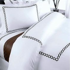 Modern Hotel Style White Brown Trim Frame 100% Egyptian Cotton Duvet Comforter Cover and Euro Shams Set with Bed Skirt -  Look awesome with the coordinating bed skirt!