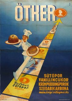Ötker Vintage Advertisements, Vintage Ads, Vintage Posters, Old Commercials, Retro Poster, Vintage Cooking, Old Ads, Advertising Poster, Illustrations And Posters
