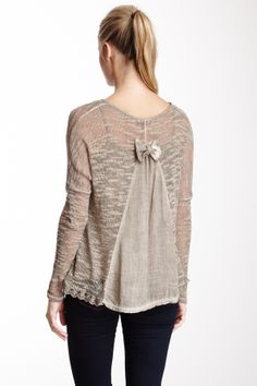 Knit Ruffle Bow Tee. This would be so easy to replicate.