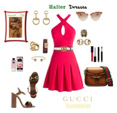 """""""Halter dress and how I would wear it"""" by deborah-518 ❤ liked on Polyvore featuring Nicole Miller and Gucci"""