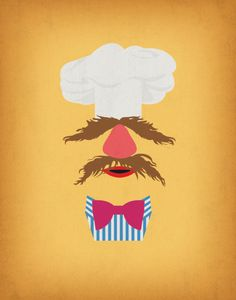 The Muppets Show Vintage Art Swedish Chef Retro Style Minimalist Poster Print Art Print
