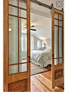 a great alternative to the standard interior door (via House of Turquoise) House Design, House, Interior, Home, House Styles, New Homes, House Interior, French Doors Interior, Glass Barn Doors