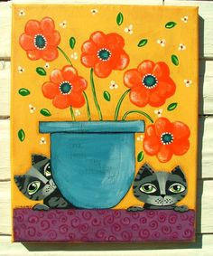 """#Outsider Whimsical Cat Floral painting by Cynthia Bontempo aka GOSHRIN. Title: """"The Flowers""""  Size: 11"""" X 14""""  Media: Acrylic  Date: 2016    About This Piece:  Keep an eye on these kitties they don't spill the pot!!  Gallery Wrapped Canvas."""
