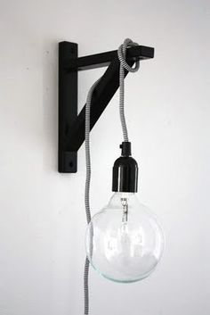 Love it. Shelf bracket and long-corded light with giant bulb.