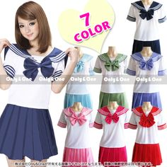 New 2014 Japanese School Uniform Girl Dress Top shirt with Bow tie and Plaid skirts Cosplay Costume Anime Girl Lady Lolita £10.67