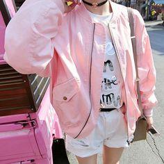 "Pink zipper students baseball jacket Coupon code ""cutekawaii' for 10% off"