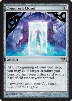 Magic: the Gathering - Conjurer's Closet (214) - Avacyn Restored by Wizards of the Coast. $0.87. This is of Rare rarity.. From the Avacyn Restored set.. A single individual card from the Magic: the Gathering (MTG) trading and collectible card game (TCG/CCG).. Magic: the Gathering is a collectible card game created by Richard Garfield. In Magic, you play the role of a planeswalker who fights other planeswalkers for glory, knowledge, and conquest. Your deck of cards represents a...