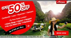 Special Offer AirAsia Promo comes again. Fly from Kuala Lumpur and get 50% Off for every flights to Cambodia, Laos, Myanmar, Vietnam, and Singapore !  Don't missed it ! Find your favorite destination NOW! More Info : http://ow.ly/10fgKk  #CheapFlights #Promoflights #AirAsia #Airpaz #Malaysia #Discount #Holiday #Travel #Backpacker #Promo #Backpacking #Traveling #Trip #Vacation