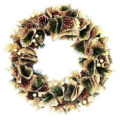 A festively accented decoration, the Vintage Wreath will add seasonal warmth to any door with its flowing burlap design, pine branches and pinecones. It makes an ideal addition to any holiday decor.