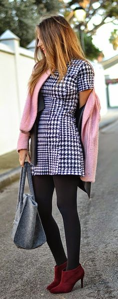 Pink Causal Jacket + Little Houndstooth Dress