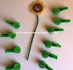 Más material ABN que he preparado, son estos bonitos girasoles: ¿Cuántas hojas tengo que poner según me indica el número del girasol?...