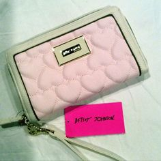 NWT Betsey Oversized Wallet Blush & White Gorgous Betsey Jhonson Oversized Wallet, lots of space, so cute heart quilted with enamel & gold metal plate logo. MSRP $75 plus tax Betsey Johnson Bags Wallets