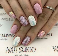 Super cute nails, manicures, nail designs, and nail art! Fancy Nails, Love Nails, Trendy Nails, Pink Nails, My Nails, Pink White Nails, Pedicure Nails, Gel Manicure, Nail Polish