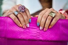 Summer time is the right time to experiment with many colors, so you should try this for your nails. Here are some Fun Multicolored Nail Designs for you. Nail Color Combos, Nail Colors, Color Nails, How To Do Nails, Fun Nails, Nice Nails, Multicoloured Nails, Colourful Nails, Tumblr