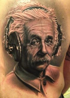 excellent Einstein beats portrait tattoo  -  by UK artist Meehow #tattoo #art #einstein #ink