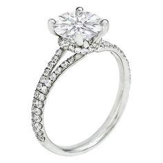Round Diamond Split Band Ribbon Halo Platinum Engagement Ring 0.72 tcw.