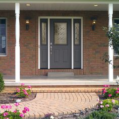 constance decorative glass by provia is shown here on a halflite legacy steel door