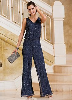 Together Bead Embellished Wide Leg Jumpsuit - ShopStyle Bridesmaids And Mother Of The Bride, Mother Of Groom Dresses, Cocktail Attire For Women, Embellished Jumpsuit, Wedding Jumpsuit, Jumpsuit Dressy, Sophisticated Dress, Mob Dresses, Look Chic