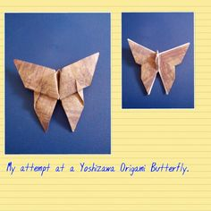 A Yoshizawa Origami Butterfly using mini scarpbooking paper bought in Canada.