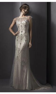 sku:gccf1033; Silhouette:A-line; Hemline:Court Train; Fabric:Satin; Back Details:Buttons; Neckline:Scoop; Waist:Natural; Colour:Ivory; Sleeve Length:Short Sleeves;