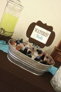 Waterin' hole - drink ideas - western cowboy baby shower