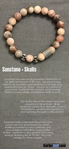 "#BEADED #Yoga #BRACELETS ♛ #Sunstone brings #light to all situations, and wearing it can help your personal #power to ""shine""..#Skulls #courage #Beaded #Bracelet #Bracelets #Buddhist #Chakra #Charm #Crystals #Energy #gifts #gratitude #Handmade #Healing #J"