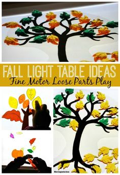 Fall themed light table activities for kids! A simple autumn themed fine motor activity with loose parts.
