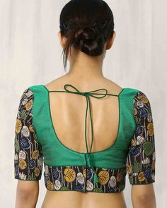 Buy Multicoloured Indie Picks Kalamkari Print Back Open Blouse