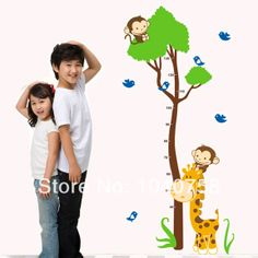 Monkey Giraffe Animals Height Measurement Growth Chart Sticker for Kids Boys Room Removable Vinyl Mural Art Tree Wall Decal $9.99
