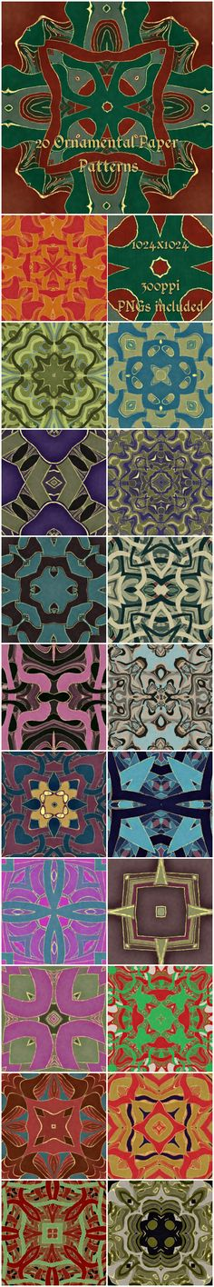 20 Ornamental Paper Patterns by Sharandra 20 paper textures with beautiful ornamental patterns. each pattern tiles seamlessly and is in 10241024 at Included are 20 Tile Patterns, Paper Patterns, Pattern Paper, Photoshop Effects, Celtic Designs, Painted Paper, Tag Art, Paper Texture, Bohemian Rug