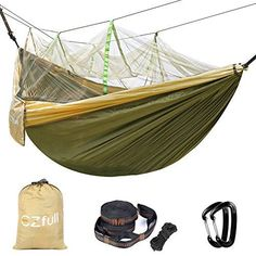 "Double Camping Hammock With Mosquito Net EZfull - 660LBS Bearing Portable Outdoor Hammocks,10ft Hammock Tree Straps & 12KN Carabiners For Backpacking Camping Travel Beach Yard. 118""(L) x 78""(W) - Why should you choose this hammock? Breathable lightweight camping hammock This camping hammock comes with high quality fiber 210T nylon of 660lb capacity. Soft, breathable and highly resistant to mold, mildew and rot. The outdoor camping hammock with upgraded carabiners, which is made of mouse s..."