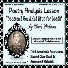 This product contains: A PowerPoint close-reading think aloud which includes poem, annotations, and questions, my original hand drawing of Emily, and 16 quotes by Emily Dickinson to use as task cards or mini posters. There is a blank template page to add quotes of your choice.